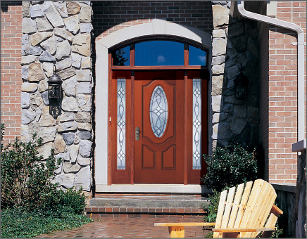 Petite Oval Woodgrain Fiber-Classic Entry Door