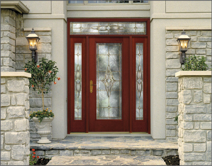 Woodgrain Fiber-Classic Entry Door with Decorative Glass