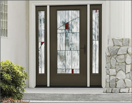 Brown Smooth-Star Entry Door with Decorative Glass