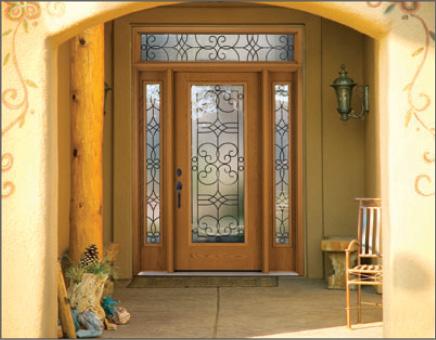Woodgrain Fiber-Classic Entry Door with Side-lites