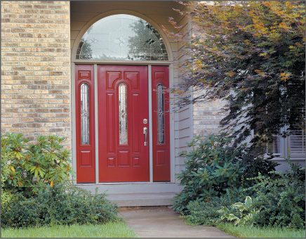 Half Round Red Colored Smooth-Star Entry Door