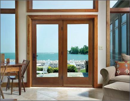 Woodgrain Hinged Patio Door