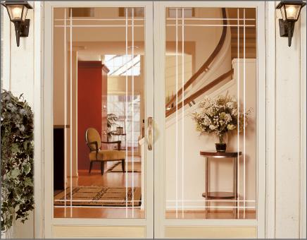 Double Door Full View Storm Door with Prairie V-Groove Glass