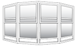 This is Keystone's 4 panel bow vinyl picture with double hung window.